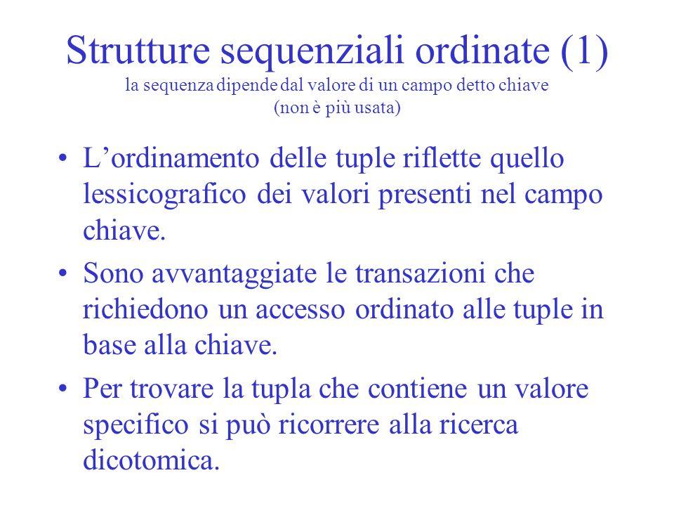 Strutture sequenziali ordinate (1) la sequenza dipende dal valore di un campo detto chiave (non è più usata)