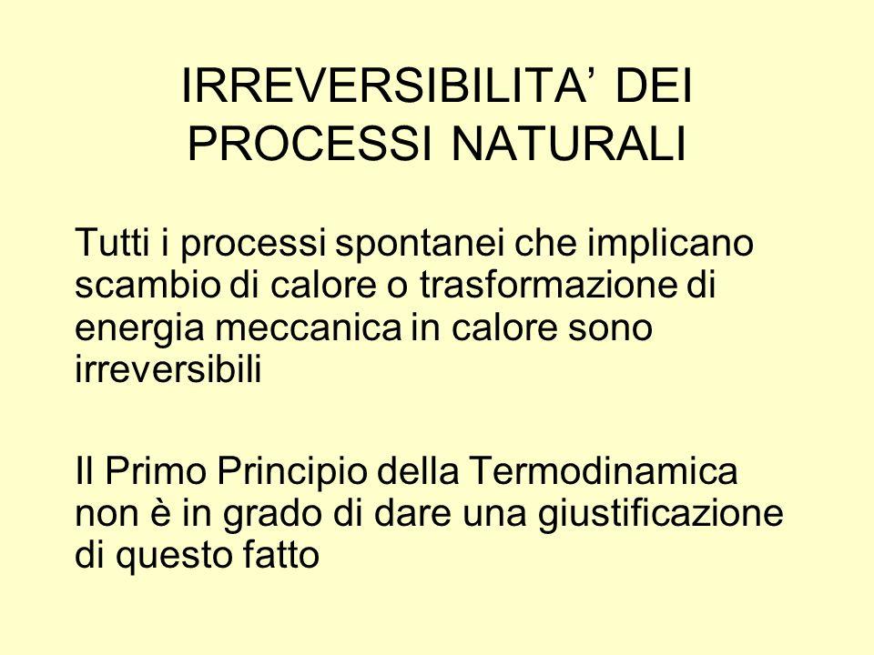 IRREVERSIBILITA' DEI PROCESSI NATURALI