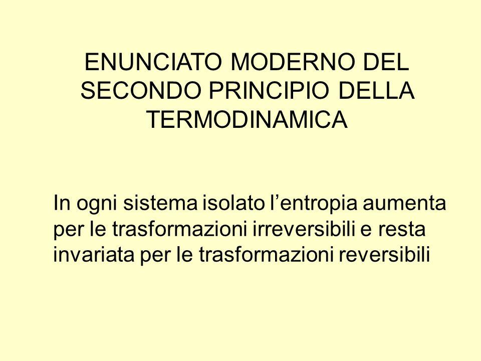 ENUNCIATO MODERNO DEL SECONDO PRINCIPIO DELLA TERMODINAMICA