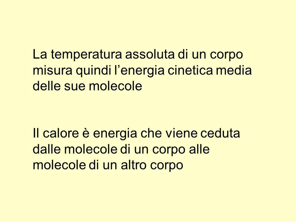 La temperatura assoluta di un corpo misura quindi l'energia cinetica media delle sue molecole