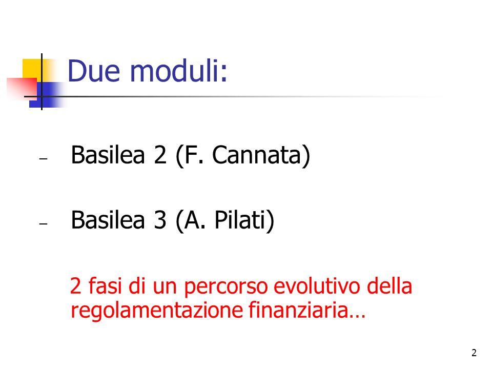 Due moduli: Basilea 2 (F. Cannata) Basilea 3 (A. Pilati)
