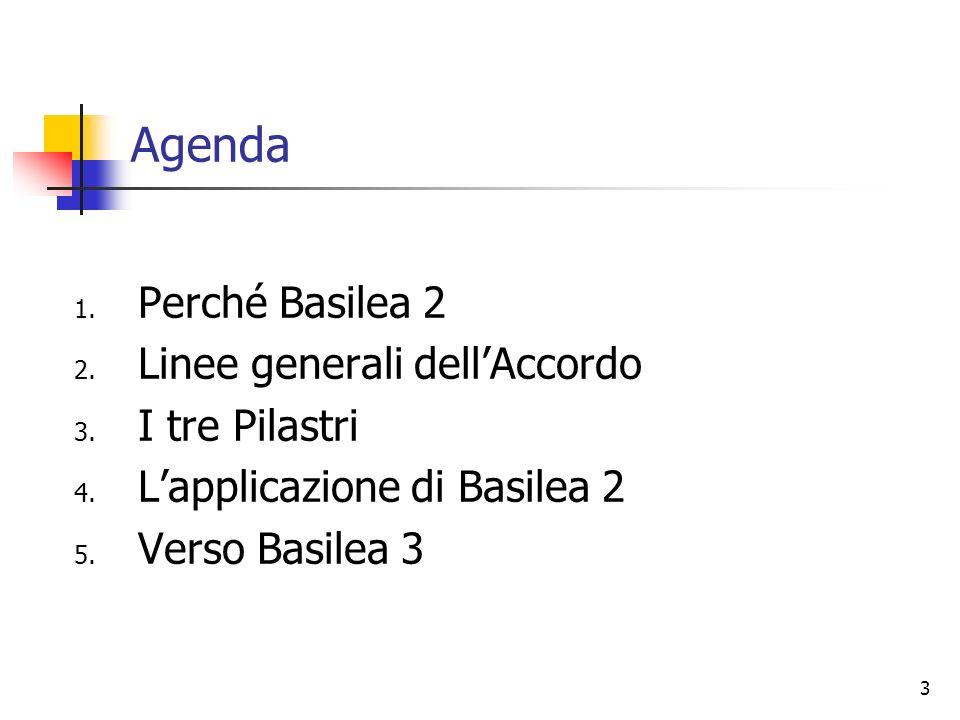 Agenda Perché Basilea 2 Linee generali dell'Accordo I tre Pilastri