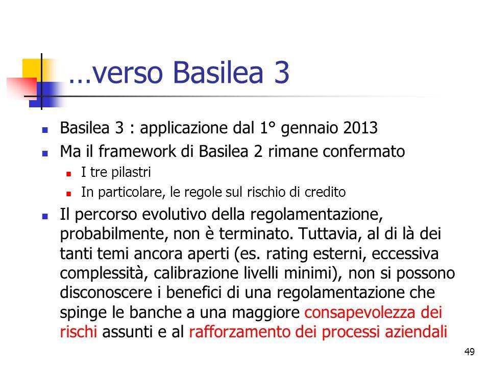 …verso Basilea 3 Basilea 3 : applicazione dal 1° gennaio 2013