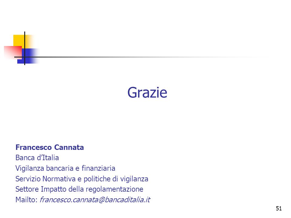 Grazie Francesco Cannata Banca d'Italia