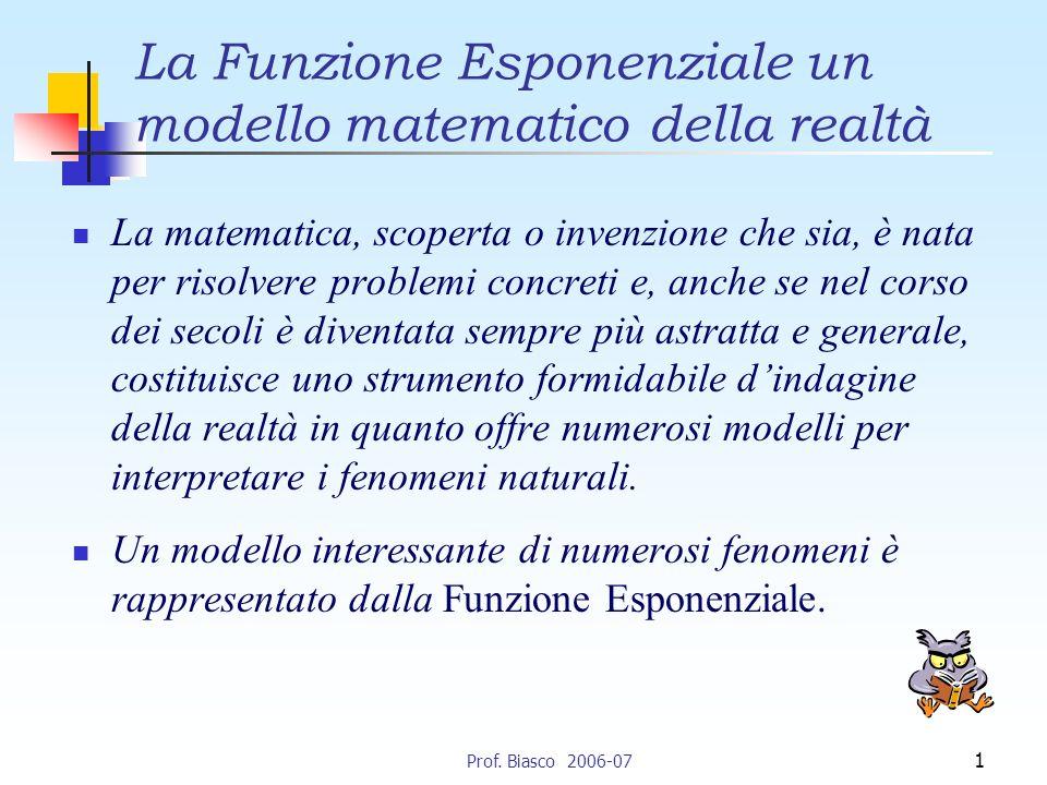 La Funzione Esponenziale un modello matematico della realtà