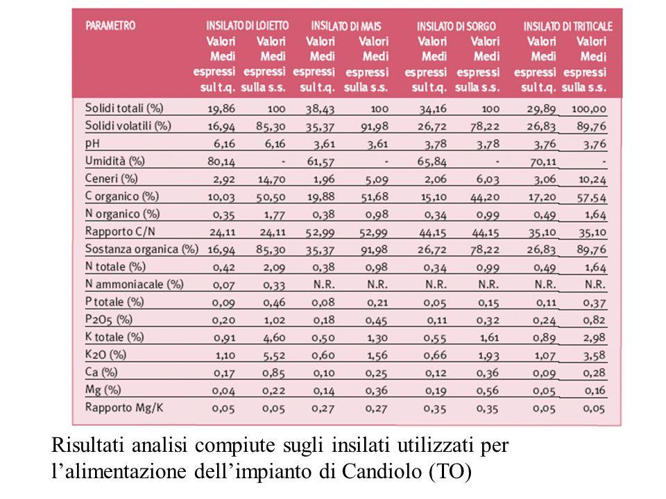 Risultati analisi compiute sugli insilati utilizzati per l'alimentazione dell'impianto di Candiolo (TO)