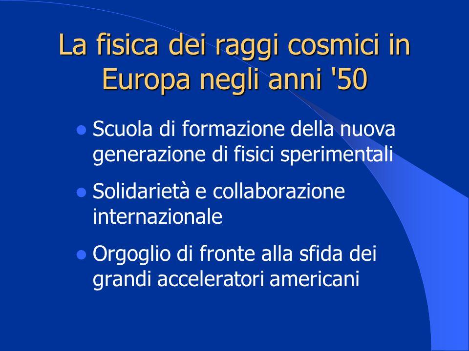 La fisica dei raggi cosmici in Europa negli anni 50