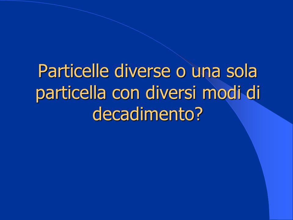 Particelle diverse o una sola particella con diversi modi di decadimento