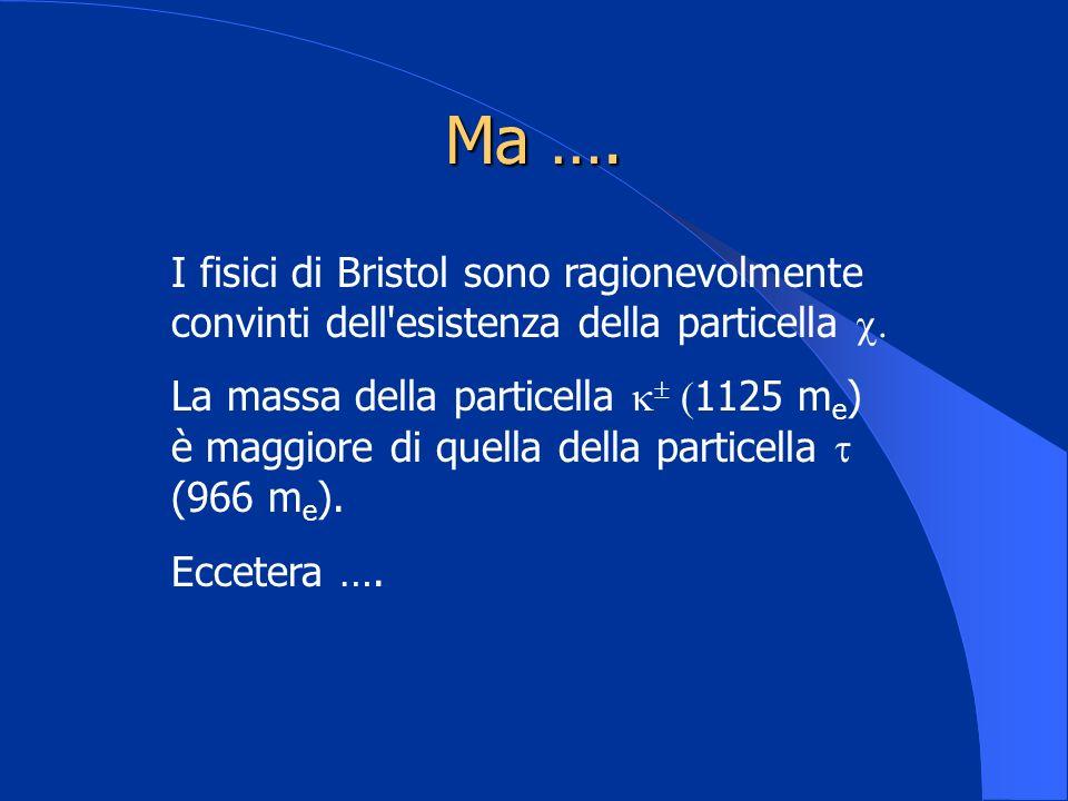 Ma ….I fisici di Bristol sono ragionevolmente convinti dell esistenza della particella .