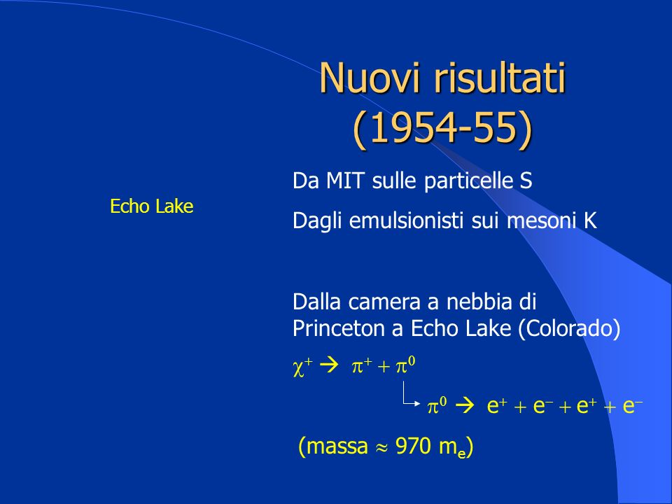 Nuovi risultati (1954-55) Da MIT sulle particelle S