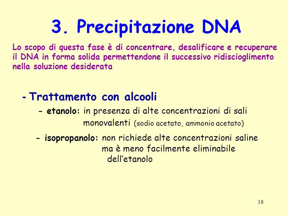 3. Precipitazione DNA - Trattamento con alcooli