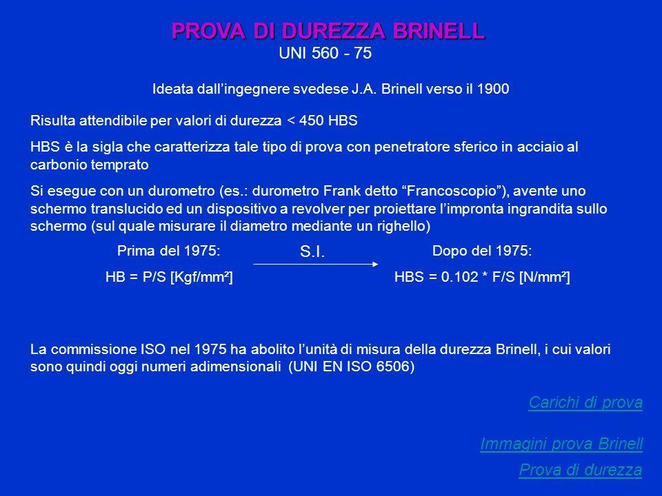 PROVA DI DUREZZA BRINELL