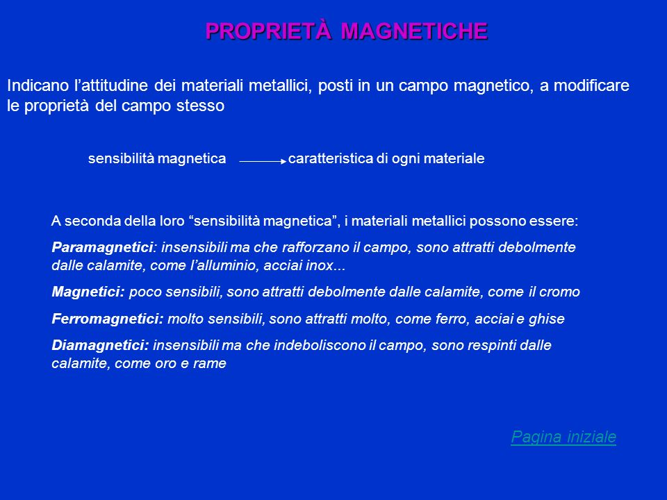 PROPRIETÀ MAGNETICHEIndicano l'attitudine dei materiali metallici, posti in un campo magnetico, a modificare le proprietà del campo stesso.