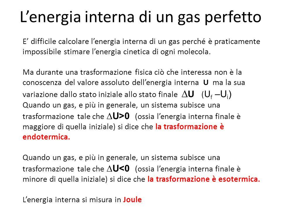 L'energia interna di un gas perfetto