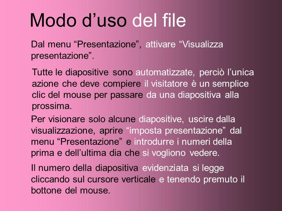 Modo d'uso del fileDal menu Presentazione , attivare Visualizza presentazione .
