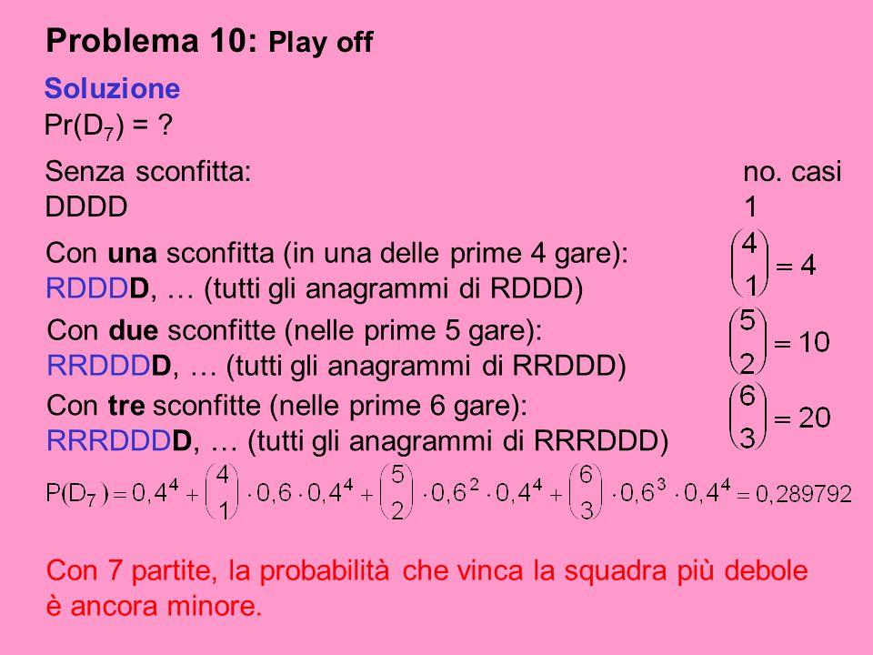 Problema 10: Play off Soluzione Pr(D7) = Senza sconfitta: no. casi