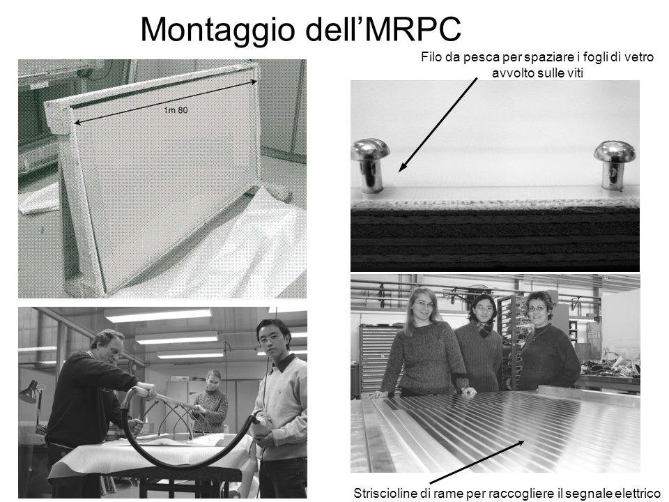 Montaggio dell'MRPC Filo da pesca per spaziare i fogli di vetro avvolto sulle viti.