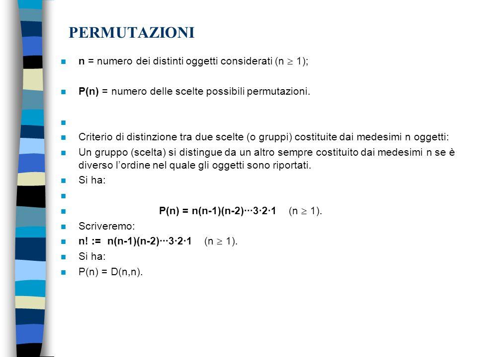 PERMUTAZIONI n = numero dei distinti oggetti considerati (n  1);