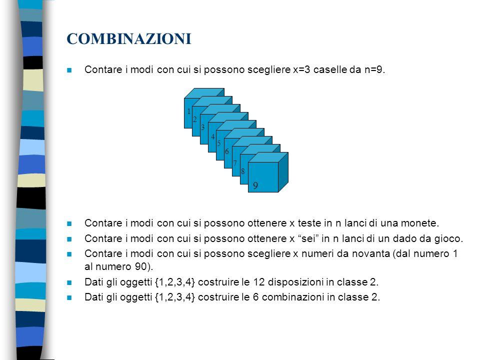 COMBINAZIONI Contare i modi con cui si possono scegliere x=3 caselle da n=9.