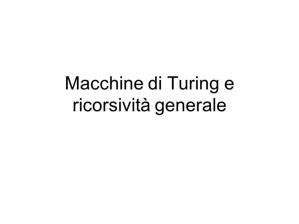 Macchine di Turing e ricorsività generale