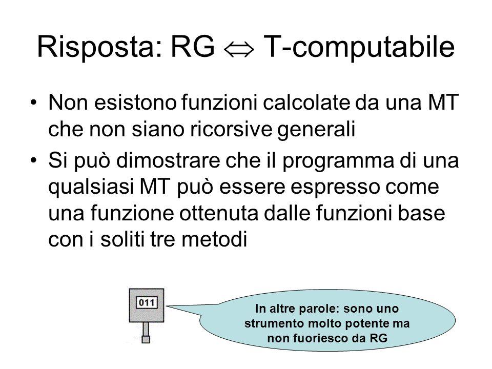 Risposta: RG  T-computabile