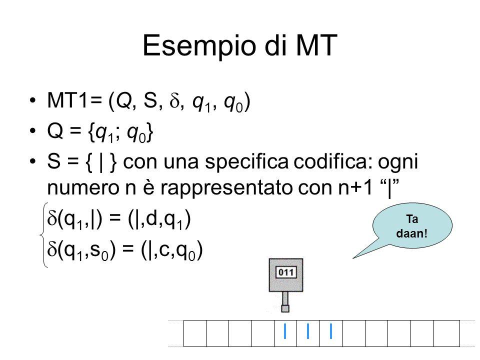 Esempio di MT MT1= (Q, S, d, q1, q0) Q = {q1; q0}