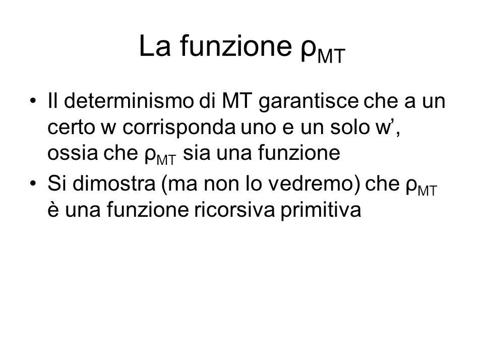 La funzione ρMT Il determinismo di MT garantisce che a un certo w corrisponda uno e un solo w', ossia che ρMT sia una funzione.