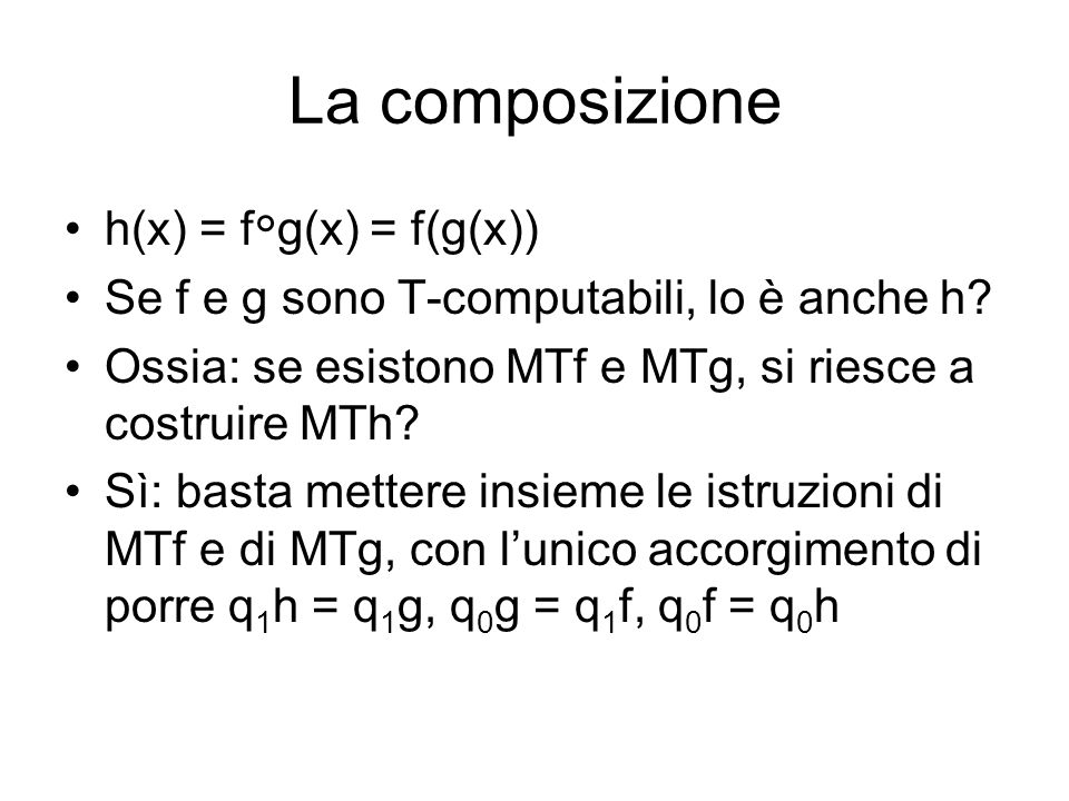 La composizione h(x) = fg(x) = f(g(x))