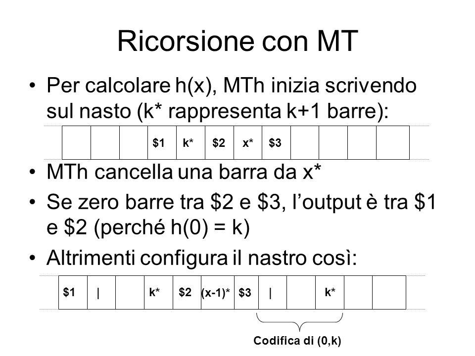 Ricorsione con MT Per calcolare h(x), MTh inizia scrivendo sul nasto (k* rappresenta k+1 barre): MTh cancella una barra da x*