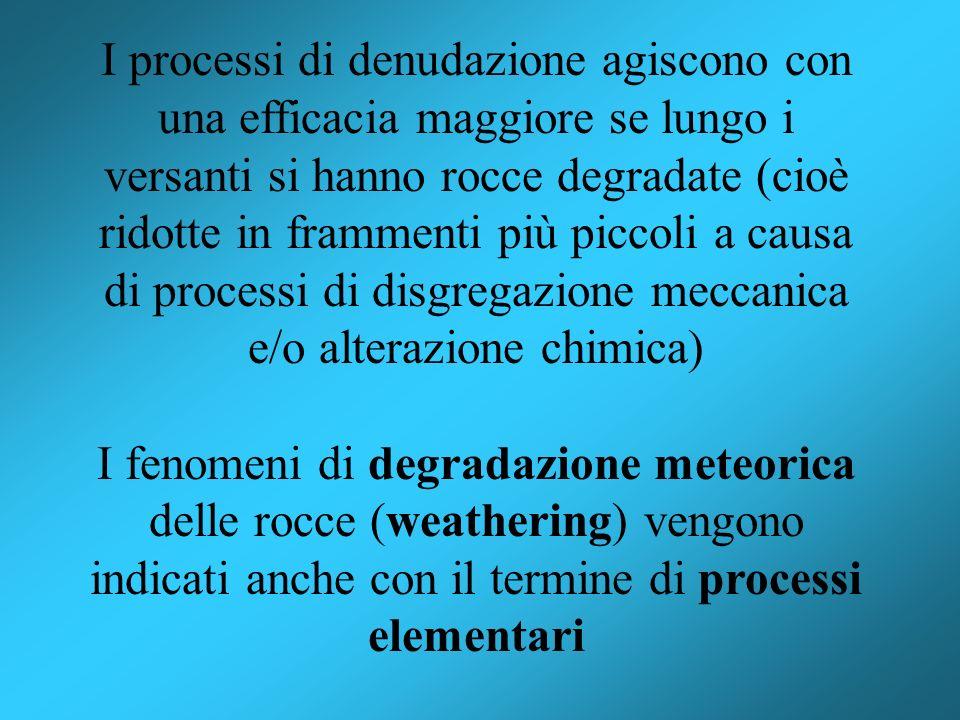 I processi di denudazione agiscono con una efficacia maggiore se lungo i versanti si hanno rocce degradate (cioè ridotte in frammenti più piccoli a causa di processi di disgregazione meccanica e/o alterazione chimica)