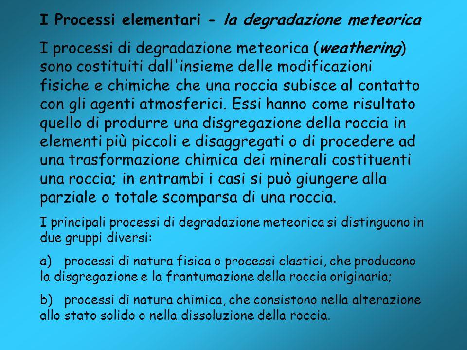 I Processi elementari - la degradazione meteorica