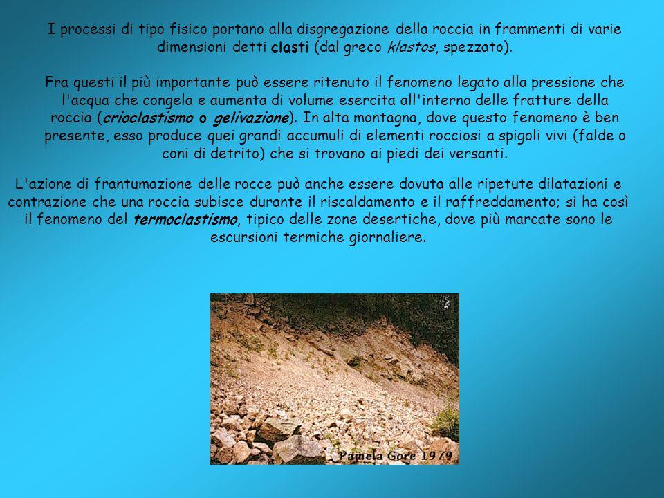 I processi di tipo fisico portano alla disgregazione della roccia in frammenti di varie dimensioni detti clasti (dal greco klastos, spezzato).