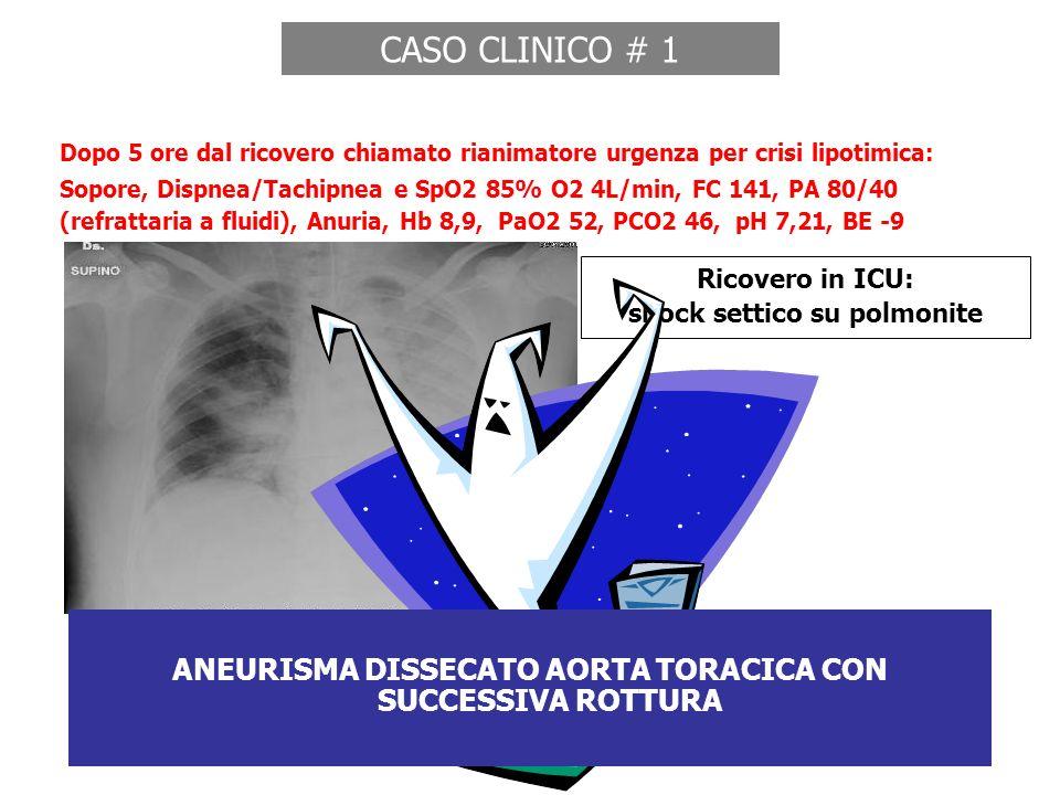 CASO CLINICO # 1 Dopo 5 ore dal ricovero chiamato rianimatore urgenza per crisi lipotimica: