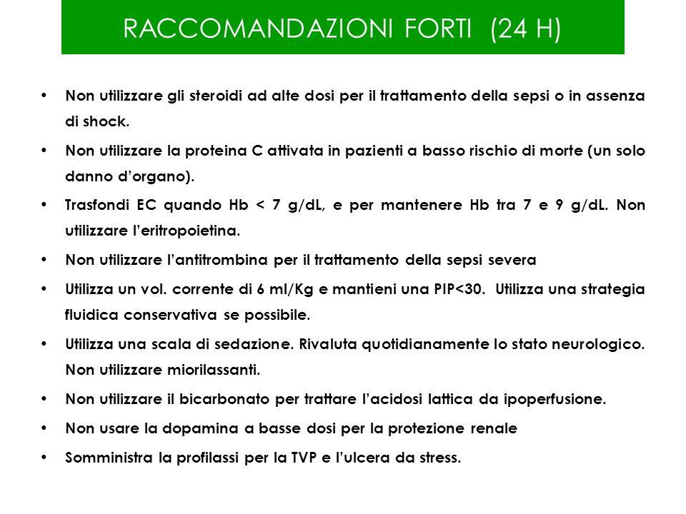 RACCOMANDAZIONI FORTI (24 H)