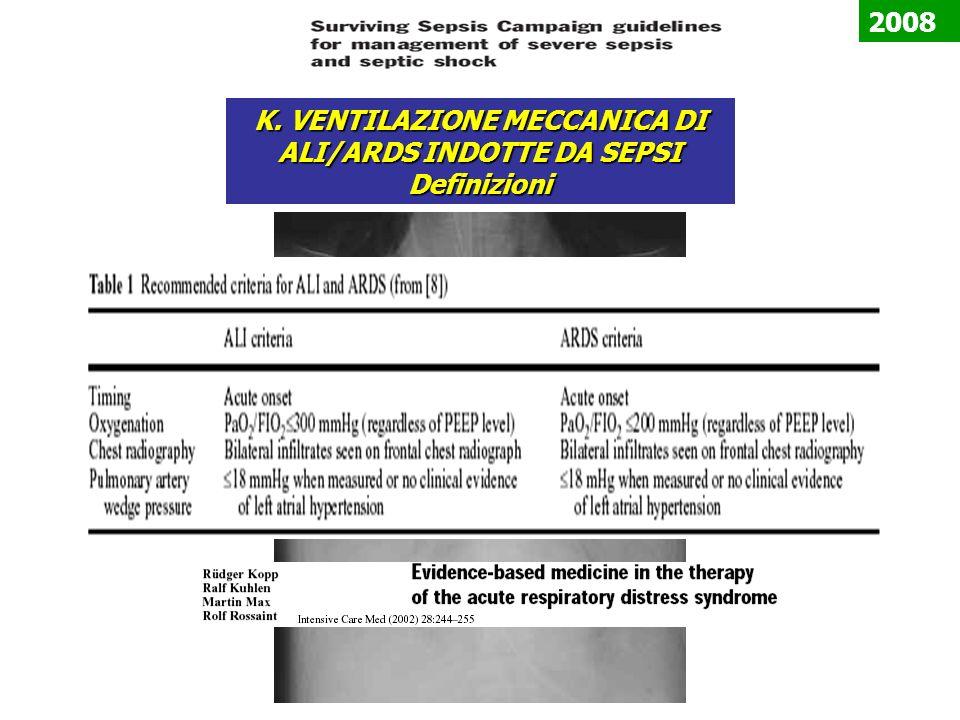 K. VENTILAZIONE MECCANICA DI ALI/ARDS INDOTTE DA SEPSI