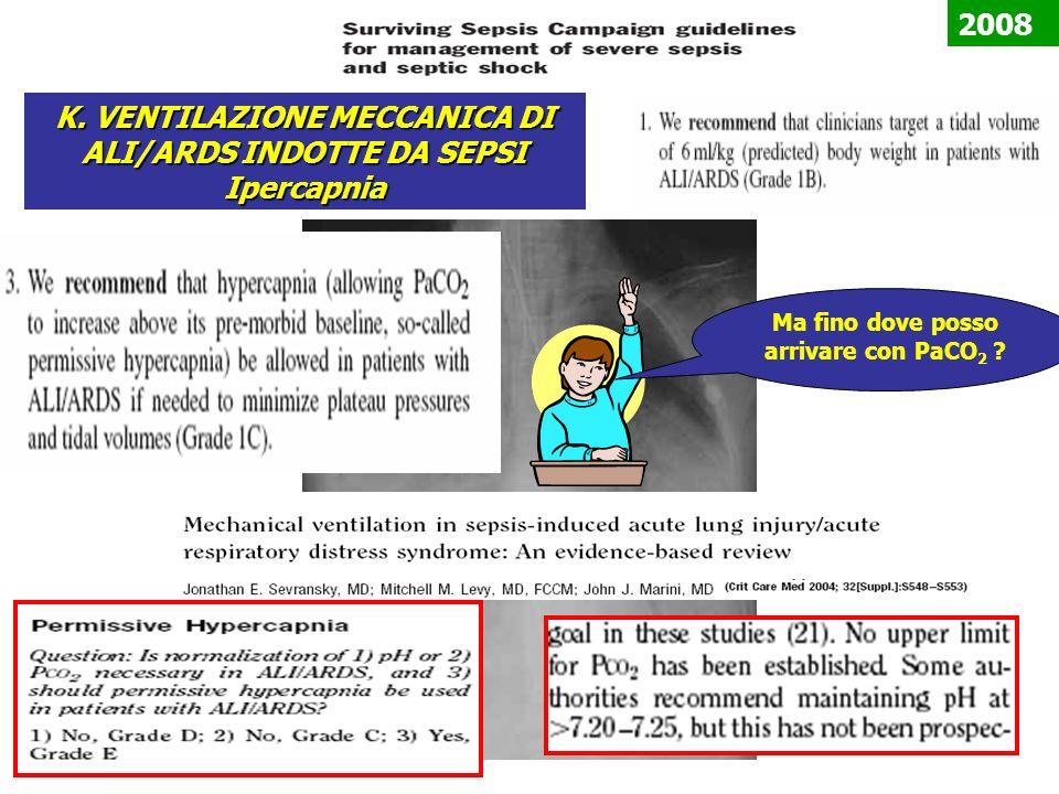 K. VENTILAZIONE MECCANICA DI ALI/ARDS INDOTTE DA SEPSI Ipercapnia