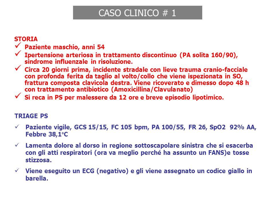 CASO CLINICO # 1 STORIA Paziente maschio, anni 54