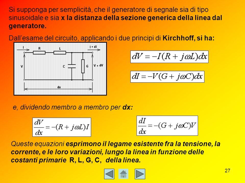 Si supponga per semplicità, che il generatore di segnale sia di tipo sinusoidale e sia x la distanza della sezione generica della linea dal generatore.
