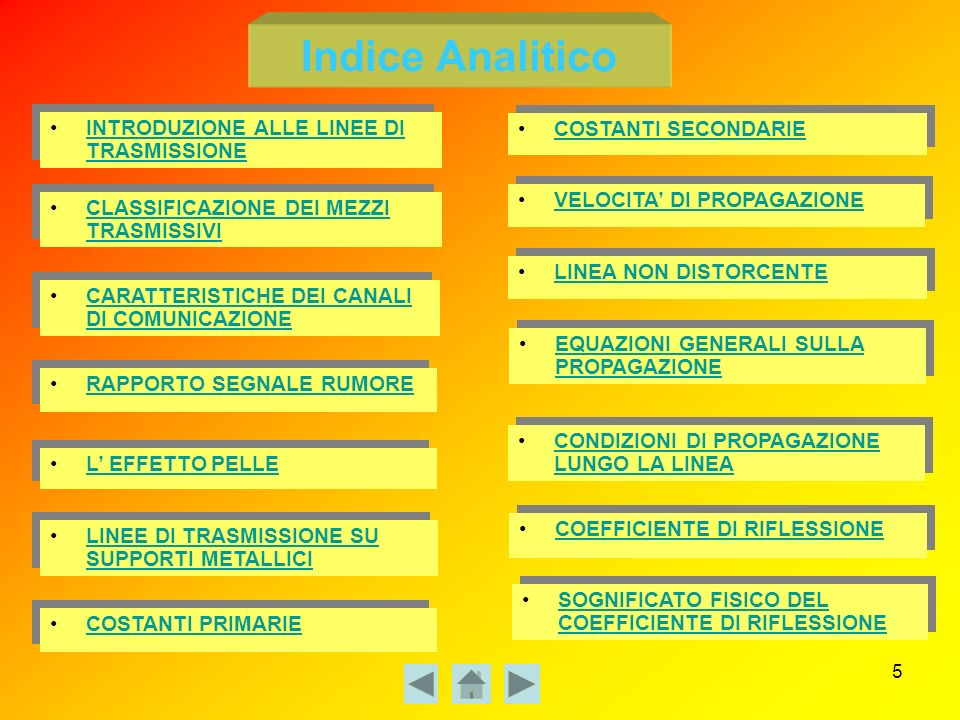 Indice Analitico INTRODUZIONE ALLE LINEE DI TRASMISSIONE
