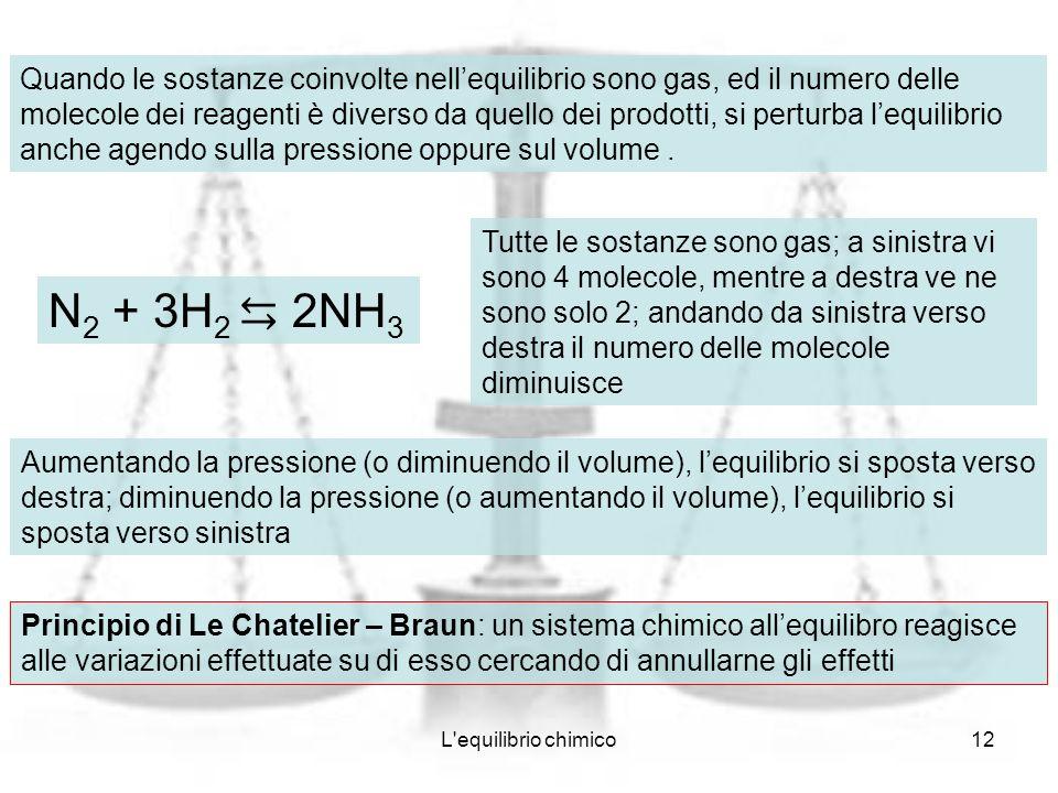 Quando le sostanze coinvolte nell'equilibrio sono gas, ed il numero delle molecole dei reagenti è diverso da quello dei prodotti, si perturba l'equilibrio anche agendo sulla pressione oppure sul volume .