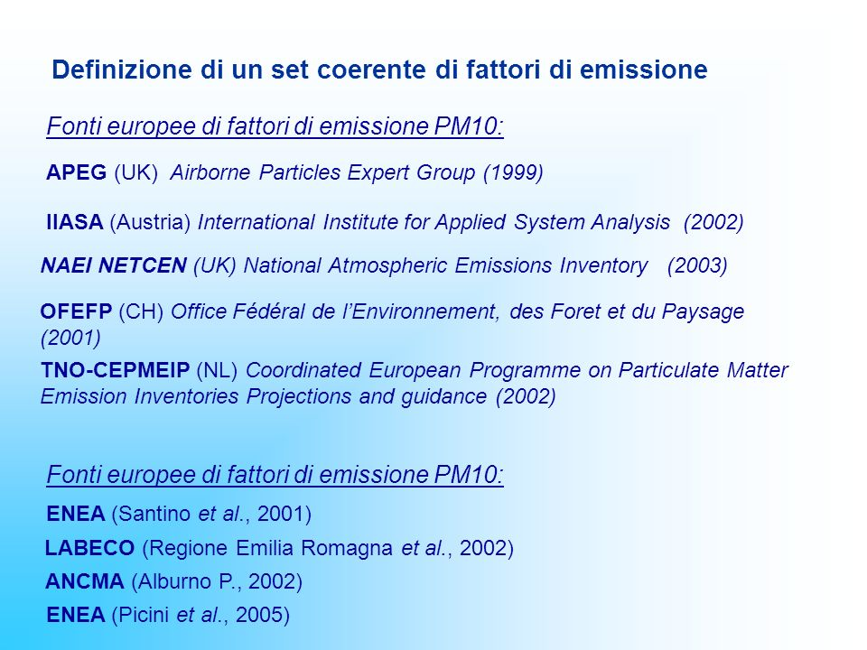 Definizione di un set coerente di fattori di emissione