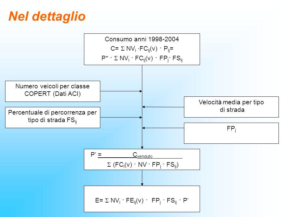 Nel dettaglio Consumo anni 1998-2004 C= S NVi ·FCij(v) · Pij=