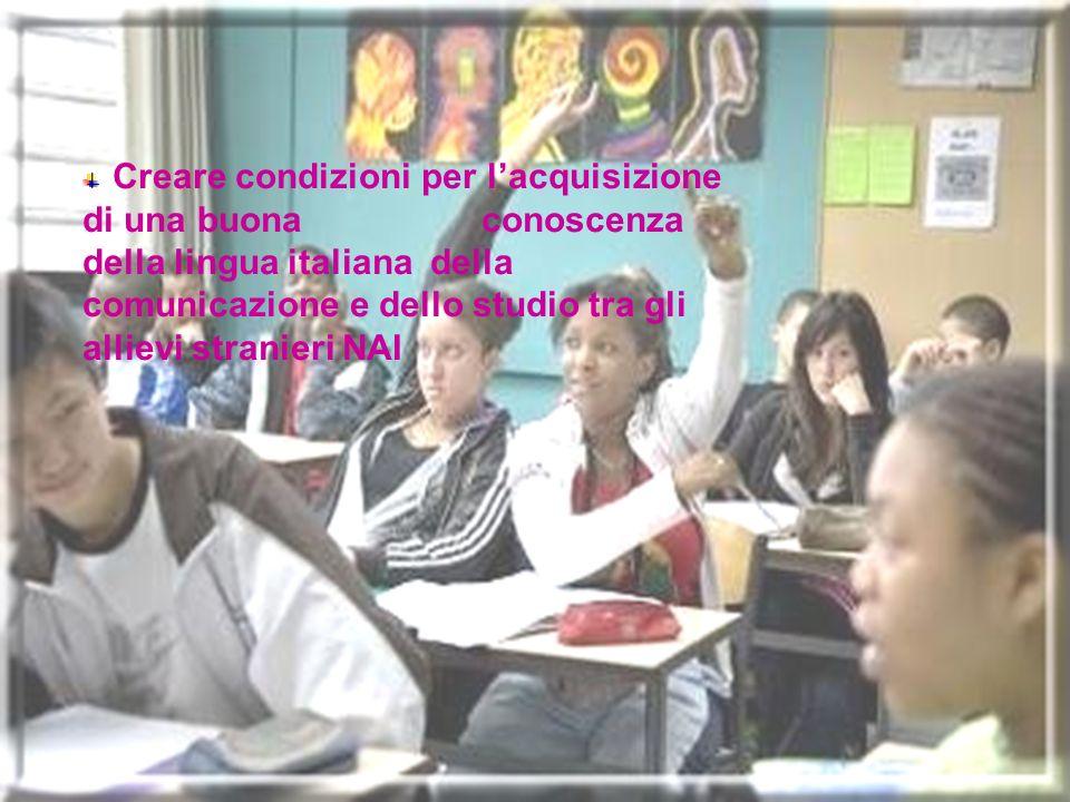 Creare condizioni per l'acquisizione di una buona conoscenza della lingua italiana della comunicazione e dello studio tra gli allievi stranieri NAI