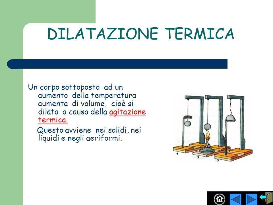 DILATAZIONE TERMICA Un corpo sottoposto ad un aumento della temperatura aumenta di volume, cioè si dilata a causa della agitazione termica.