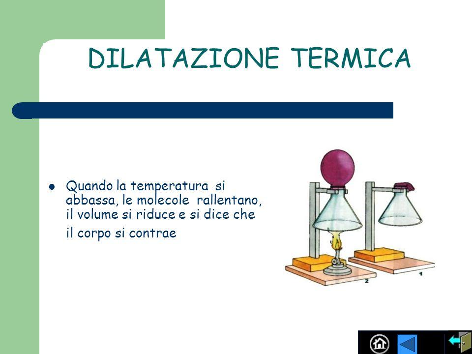 DILATAZIONE TERMICA Quando la temperatura si abbassa, le molecole rallentano, il volume si riduce e si dice che il corpo si contrae.