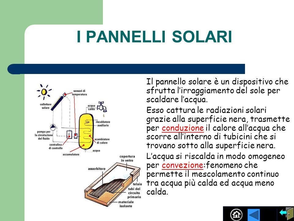 I PANNELLI SOLARI Il pannello solare è un dispositivo che sfrutta l'irraggiamento del sole per scaldare l'acqua.