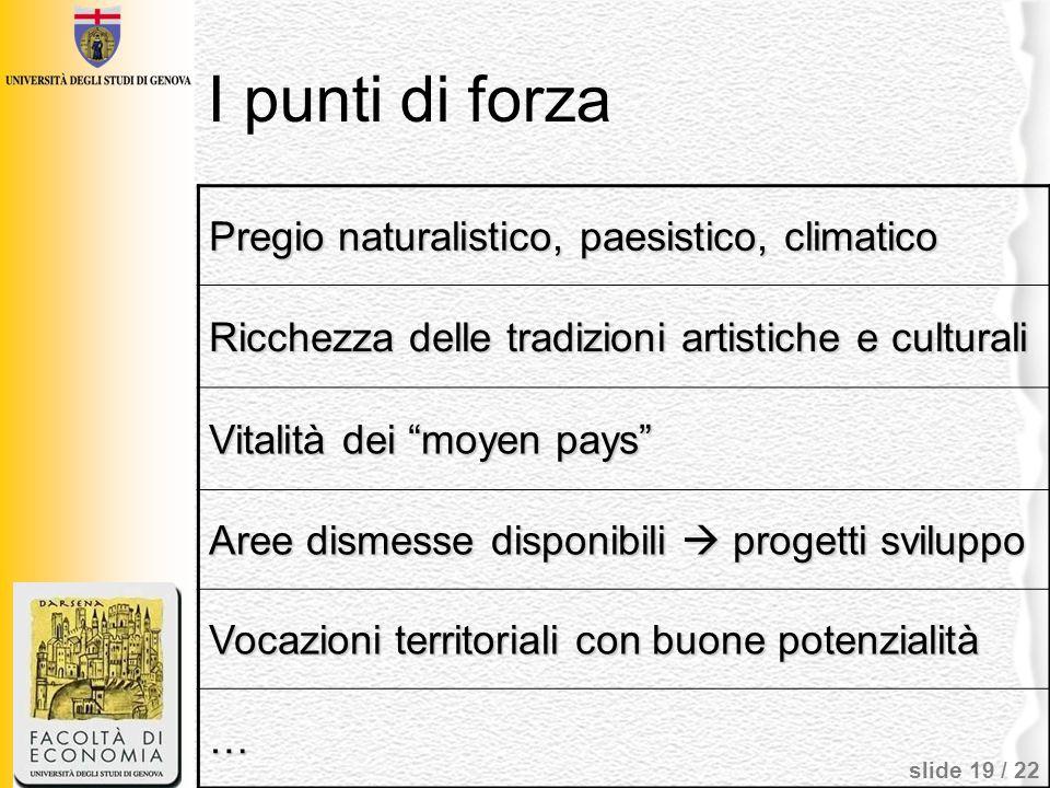 I punti di forza Pregio naturalistico, paesistico, climatico
