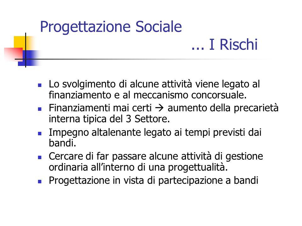Progettazione Sociale ... I Rischi