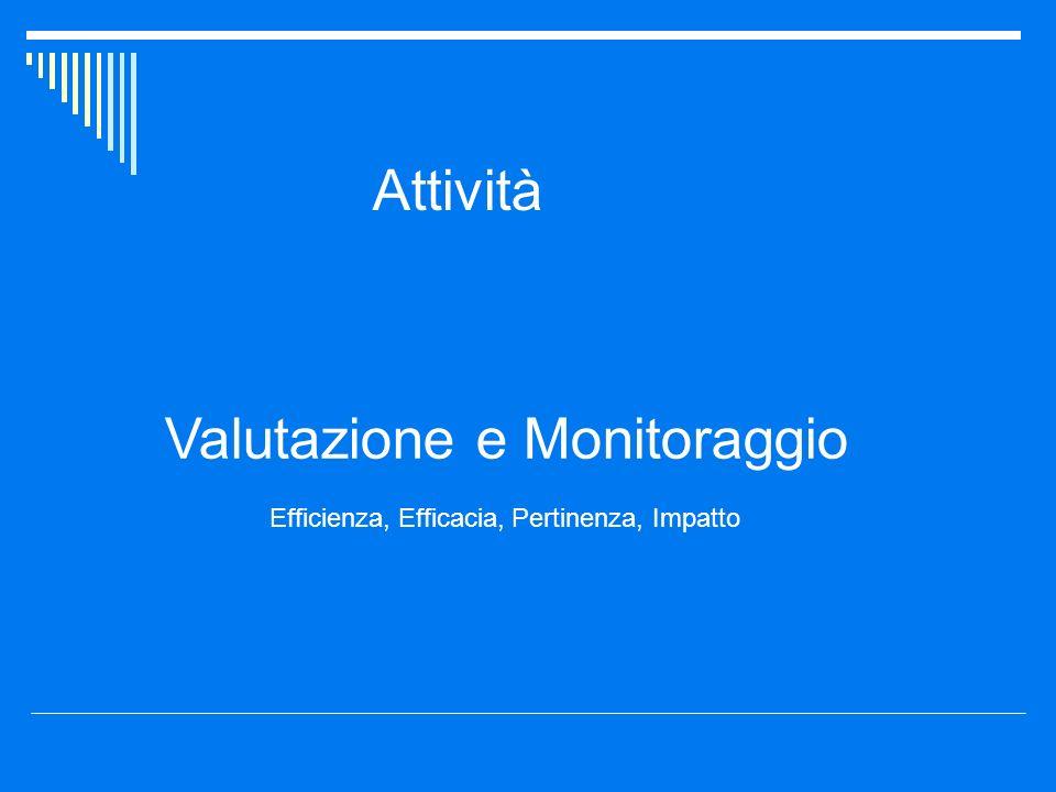 Attività Valutazione e Monitoraggio Efficienza, Efficacia, Pertinenza, Impatto