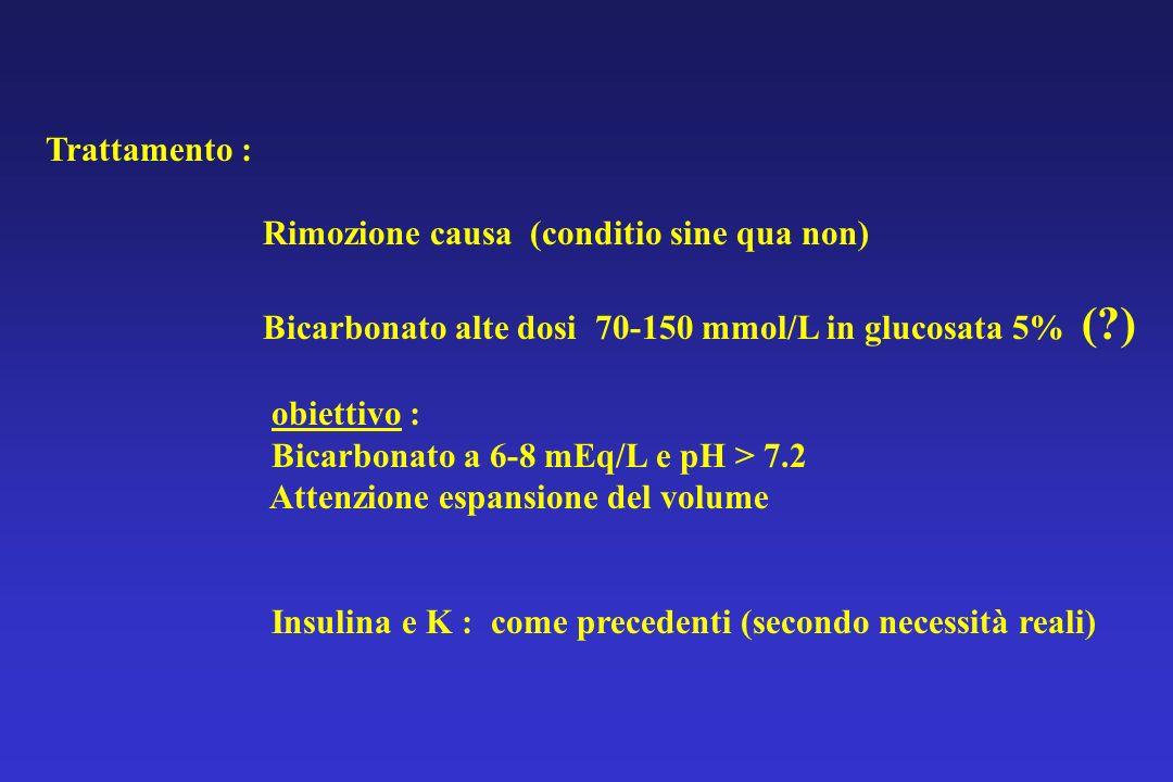 Trattamento : Rimozione causa (conditio sine qua non) Bicarbonato alte dosi 70-150 mmol/L in glucosata 5% ( )